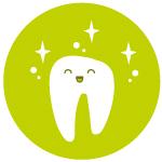 muela contenta y limpia limpieza dental